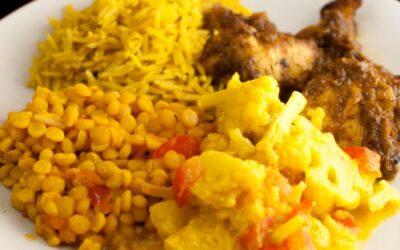 Kyllingkarri, kokosmelkris og potet med blomkål gryte
