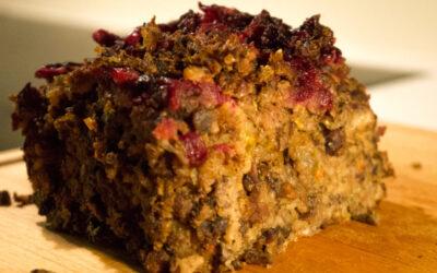 Tyttebær og pistasjnøttestek (vegetar middag)