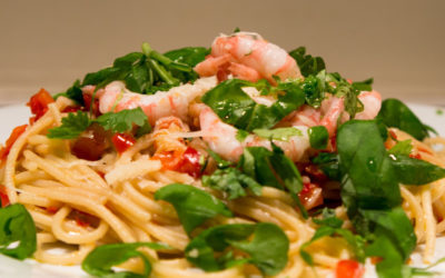 Reker med chili, urter og spagetti